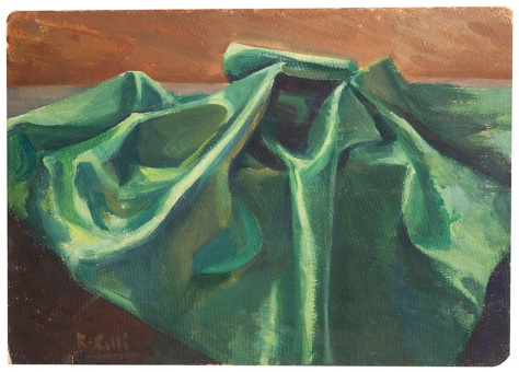 Rosanna Forino, 1948, Il tessuto verde, olio su cartone