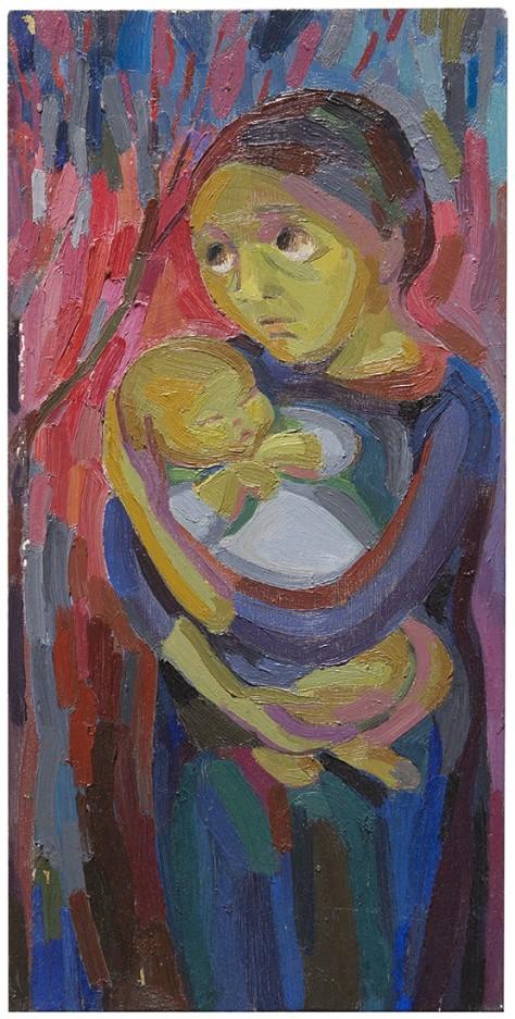 Rosanna Forino, 1963, La madre, 20,5x42, olio su tavola
