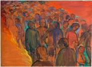 Rosanna Forino, 1970, La folla, 50x70, olio su cartone