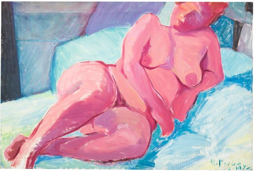 Rosanna Forino, 1972, Signora rossa, 90x60, olio su tela