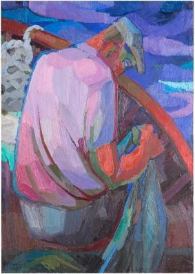 Rosanna Forino, 1975, Il pescatore, 50x70, olio su tela