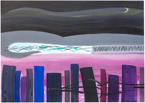 Rosanna Forino, 1992, Il mio labirinto privato, 30x70, acrilici e inchiostri su tela