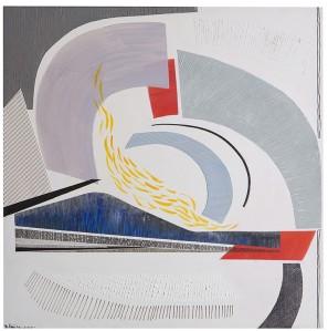 Rosanna Forino, 2010, Nel vento,80x80,acrilici e inchiostri, collage su tela