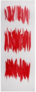Rosanna Forino, 2014, Composizione rossa, 190x70, acrilici su tela