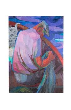 Il pescatore, Olio su tela, 50x70 Rosanna Forino