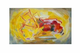 La trebbiatrice, 120x100 acrilico su tela, 1979, rosanna forino