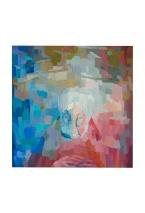 Lo scialle rosso, 60x60 Olio su tela, 1977