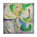fiore 70x70 olio su tela Rosanna Forino 1082 b
