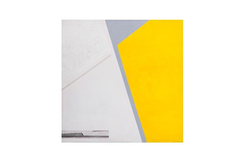 Spazio giallo - 60x60 - 2007 - acrilici inchiostri collage - rosanna forino